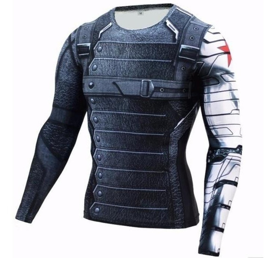 Camisa Compressão Masculina Soldado Invernal Manga Longa Camiseta Rashguard Slimfit