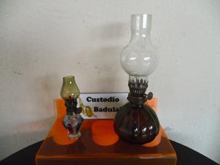 Lote 2 Antigo Lampião Pequeno E Mini Lamparina De Mesa