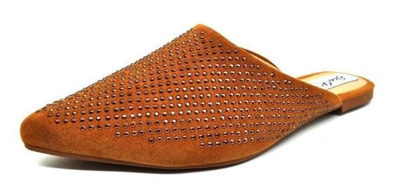 Sapatos Femininos Mule Rasteira Nobuck Caramelo Dani K