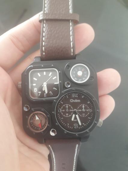 Relógio Militar Oulm Original Pulseira Couro