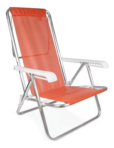 Kit 2 Cadeira Praia Aluminio Reclinavel 8 Posicoes - Mor