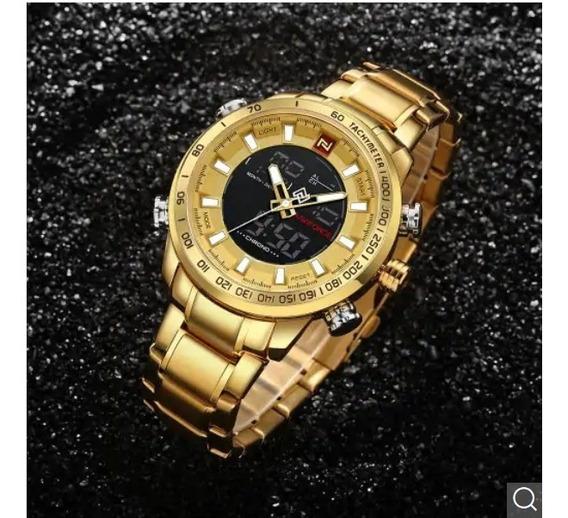 Relógio Masculino Naviforce Militar Esportivo Serie Ouro