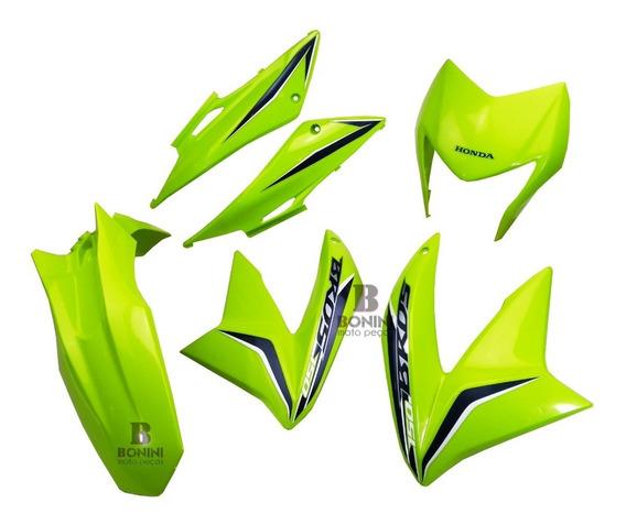 Kit Carenagem Nxr 150 Bros 150 2013 Verde Modelo Original
