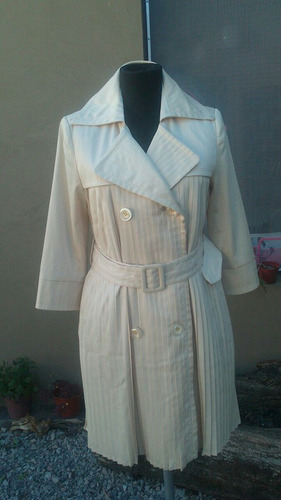 Estilo Vintage Trench Tableado Manteca