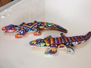 Artesania Huichol Chaquira Figuras Madera Diseños Y Tamaños