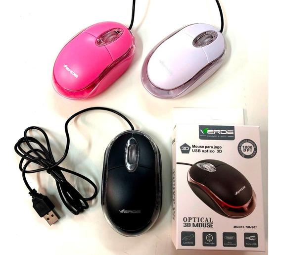 Kit C/ 3 Mouse Led Com Fio Usb Simples P/ Computador E Note