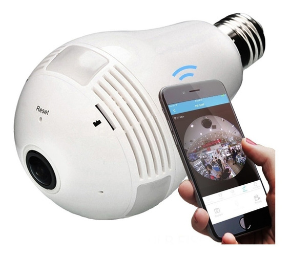 Camera Ip Segurança Lampada Vr360 Panoramica Wifi Espia Som