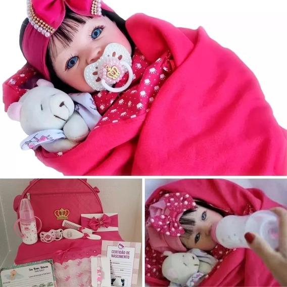 Bebê Reborn Real Verdade Acessórios + Bolsa Maternidade