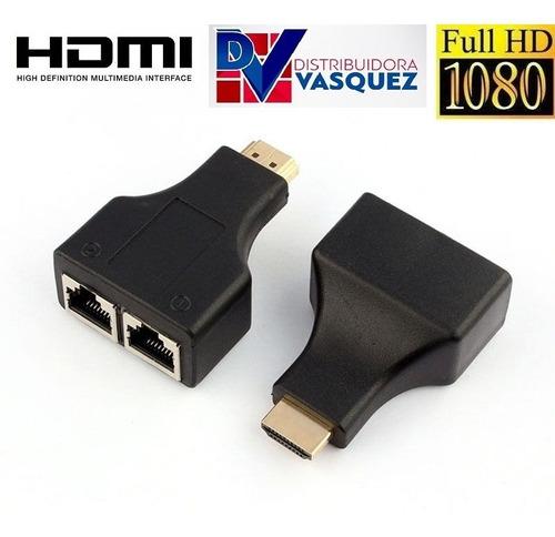 Adaptadores Extension Hdmi Hasta 30mts Con Cable Utp Rj45