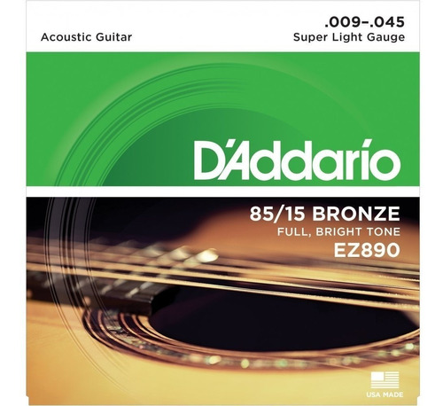 Imagen 1 de 2 de Encordado Para Guitarra Acústica Daddario Ez890 009-045 Usa