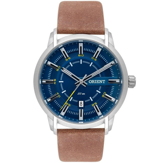 Relógio Orient Masculino Prata Couro Mbsc1028 D1mx