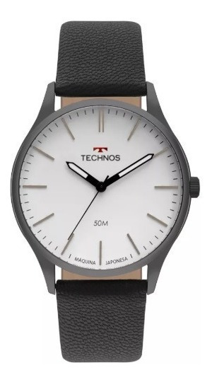 Relógio Technos Masculino Pulseira De Couro Classic Steel Ref. - 2035mqq/2b - Mega Promoção