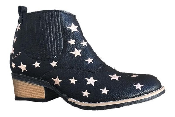 Bota Botineta Mujer Cuero Texanas Con Estrellas Rocas
