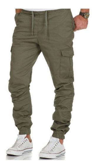 Pantalon Cargo Chupin Hombre Gabardina Elastizada