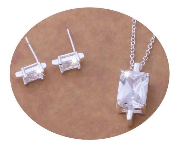 Collar + Aretes Con Zirconia Plata Ley .925