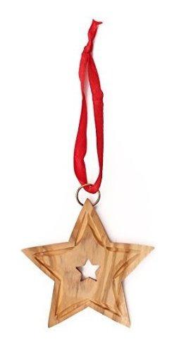 Imagen 1 de 2 de De La Tierra  Madera De Olivo Star Navidad Ornamento  Comerc