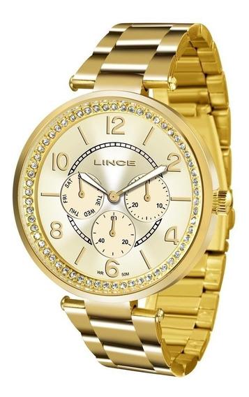 Relógio Lince Feminino Dourado C/ Brilho Lmgj068l