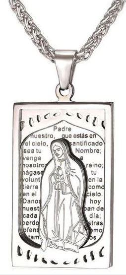Corrente Virgem Maria Gargantilha Cordão Prateado