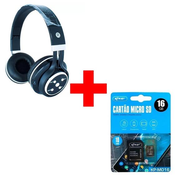 Fone De Ouvido Bluetooth Knup-369 + Micro Sd 16 Gb