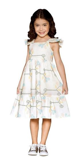 Vestido Infantil Feminino Off White Bordado Stella