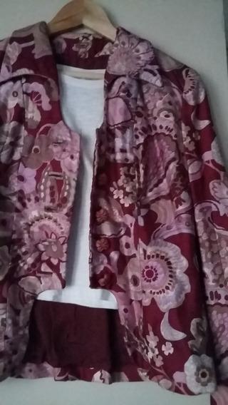 Blazer Y Falda Conjunto Vintage En Seda Estampada Importado