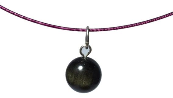 Dije De Obsidiana Dorada Esfera 100 % Piedra Natural Ujm