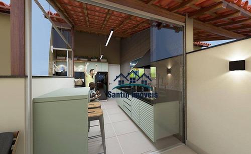 Cobertura Com 2 Dormitórios ,50 % Coberta,fino Acabamento,vaga De Garagem À Venda, 83 M² - Santa Maria - Santo André/sp - Co0452