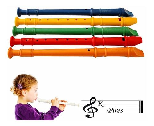 Flauta Doce Infantil Brinquedo Plastico Diversas Cores