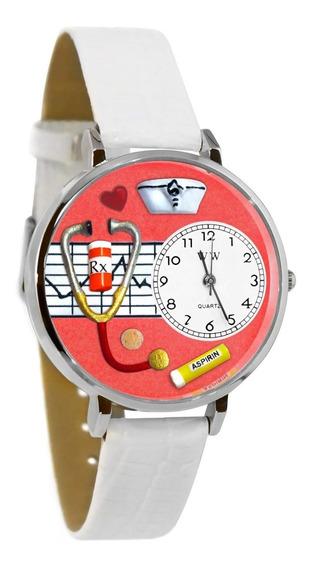Enfermera Rojo Reloj De Plata (grande)