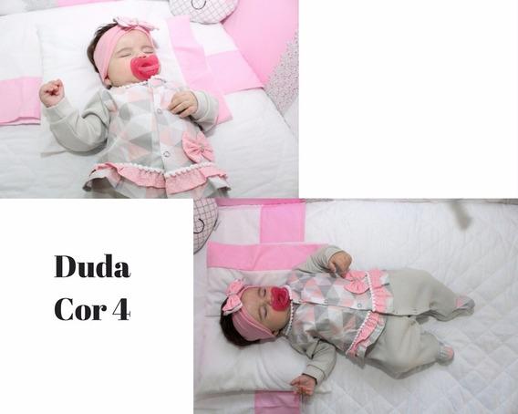 Saída De Maternidade Menina Cinza/rosa - Duda 5 Peças
