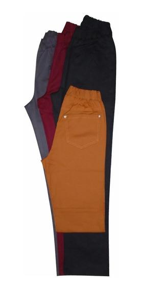 Pantalon Gabardina Recto Tiro Alto Cintura Con Elastico