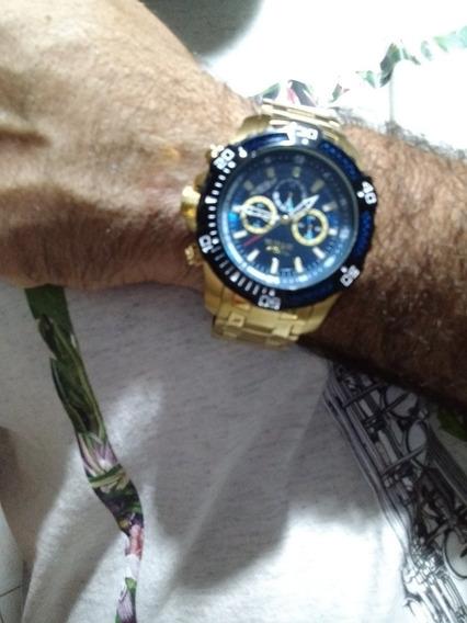 Relógio Invicta Fundo Azul Caixa Dourada