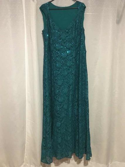 Vestido De Fiesta Mujer Xl. Largo. Usado. Egresada Verde