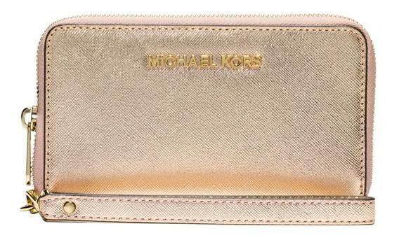 Cartera Michael Kors Wristlets Leather Pale Gold