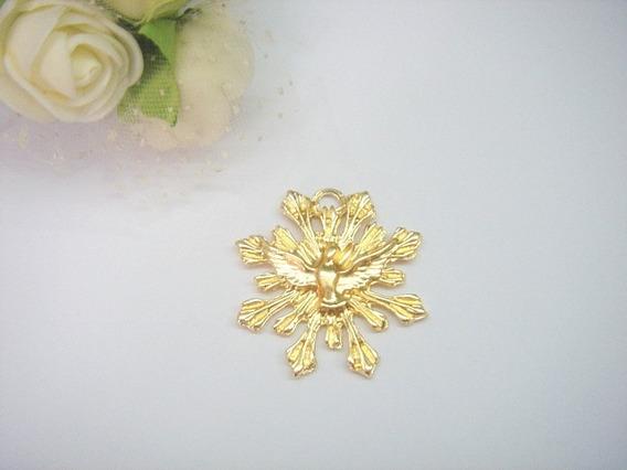 Espirito Santo Divino Dourado De Metal 3cm 10 Peça