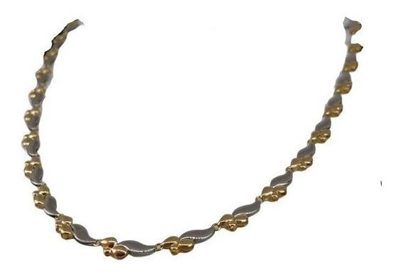 Colar Cordão Feminino Especial 40cm Platina E Ouro 18k 4551