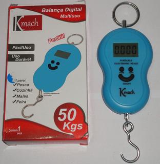 Balança Digital De Mão Portátil Gancho Mala E Pesca 50 Kgs