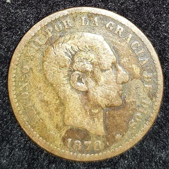 Moneda España 5 Centimos Año 1878 { Alfonso X I I } Km# 674