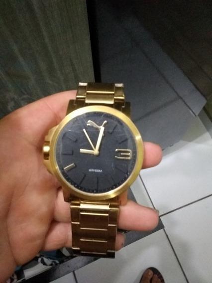 Relógio Puma Masculino Dourado Grande Banhado A Ouro 18 K