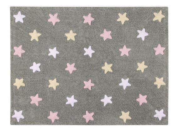 Tapete Estrelas Tricolor Cinza-rosa 120x160cm Lorena Canals