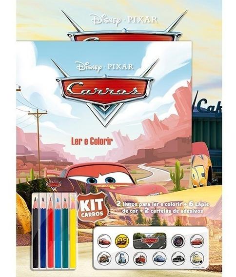 Carros Kit 2 Livros Pintura + 6 Lápis + Adesivos Promoçâo
