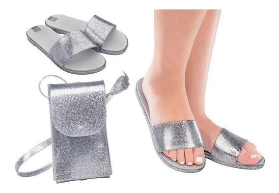 Zaxy Slide Hit + Minibag Prata Glitter 17996 Original C/nota Fiscal