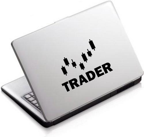 Imagem 1 de 2 de 2x Adesivo Recorte Trader Investidor Bolsa Valores Notebook