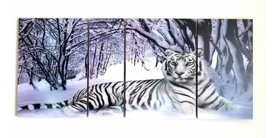 Cuadro Triptico Tigre Bengala Blanco Etnico Animal Poliptico
