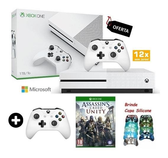 Xbox One S 1tb Slim C/ 2 Controles Original Hdr + Brinde
