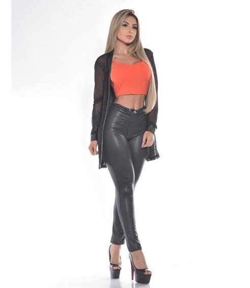 Calca Feminina Balada Multiuso Disco Poliamida Pmg Colada Super Skinny Sexy Panicat Festa Blogueira Cintura Alta Bolsos