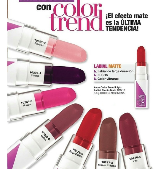 Avon Lápiz Labial Efecto Matte Color Trend Fps 15 - 3,6gr