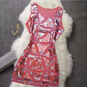 Vestido De Festa Lantejoulas Curto Paete Roupas Femininas