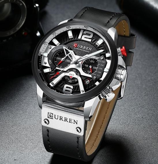 Relógio De Luxo Curren Original Militar Pulseira De Couro