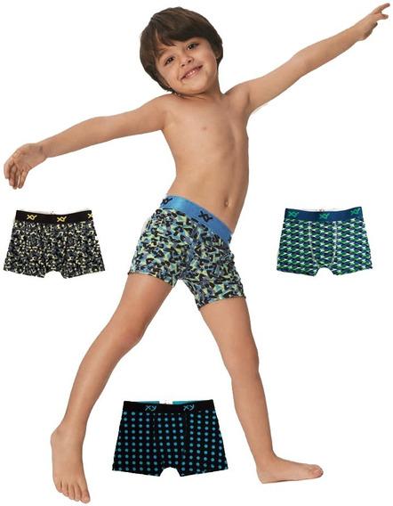 Boxer Niño Xy Estampado De Algodón Y Lycra